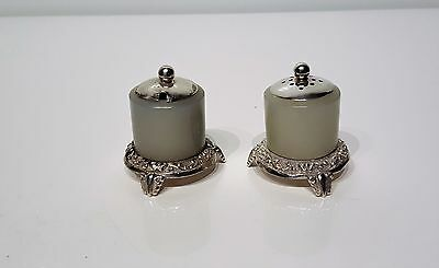 Antique Chinese Silver Mounted Jade Archers Ring Salt & Pepper Shakers