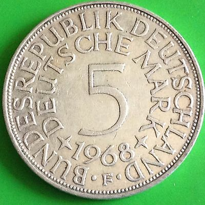 1968 F Germany 5 Mark Silver Coin