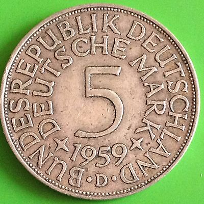 1959 D Germany 5 Mark Silver Coin