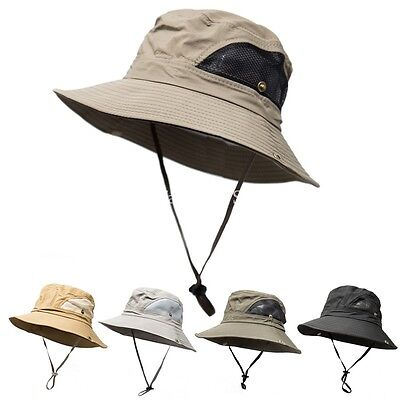 Mens Wide Brim Visor Boonie Bucket Hat Outdoor Summer Fishing Hiking Hunting