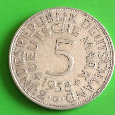 1958 G Germany 5 Mark Silver Coin
