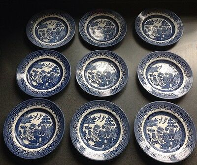 Set Of 9 Churchill England Blue & White Plates 17 cm wide