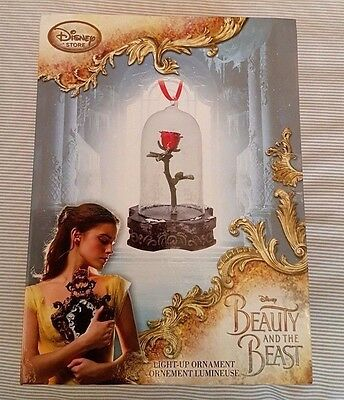 Rare Disney Store Exclusive Beauty And The Beast Light-Up Rose Ornament Bnib