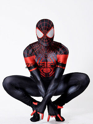 950b8fba4ad Spiderman Costume Halloween Cosplay Ultimate Miles Morales Superhero Zentai  Suit