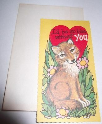 Vtg 1970s FOX I'd be so blue without you Flowers Valentine's Day Card