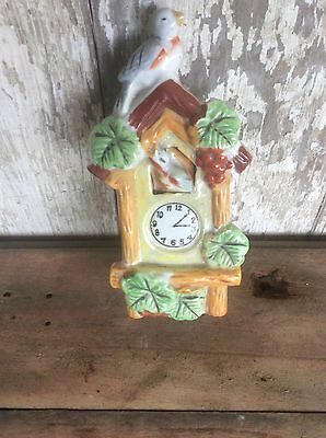 Bisque Wall Pocket, Made In Japan, Cuckoo Clock Decorative, Vintage