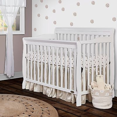 Baby Crib Convertible 5-in-1 White Infant Daybed Toddler Bed Nursery Furniture