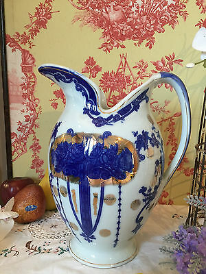 Vintage Victoria Ware Large Jug Pitcher Blue and White Floral Heavy Ironstone