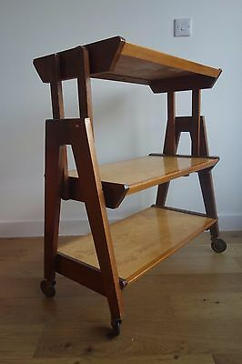 RARE Vintage Midcentury Metamorphic Teak Shelves Bridge Table Trolley Danish?