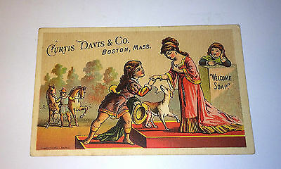 Antique Victorian Soap Trade Card Curtis Davis & Co. - Boston, MA - Dog & Horses