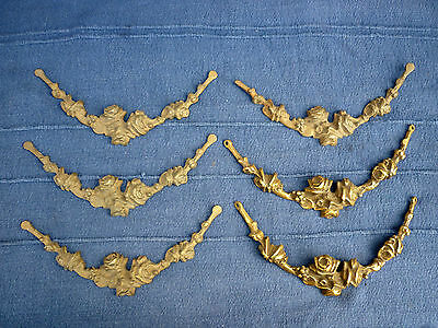 6 Continental Ormolu / Cast Brass Swagged Floral Furniture Appliques