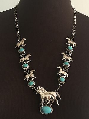 Carol Felley Large Sterling Silver Turquoise Horse Necklace 73 Grams Signed 1991