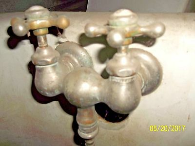 Antique Victorian Claw Foot Bath Tub or Shower Faucet w/ 2 Star Taps