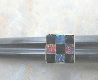 MY PERSONAL MAGICAL SATURN SQUARE RING w/ SATURN STONES OPAL & ONYX ~ SIZE 9