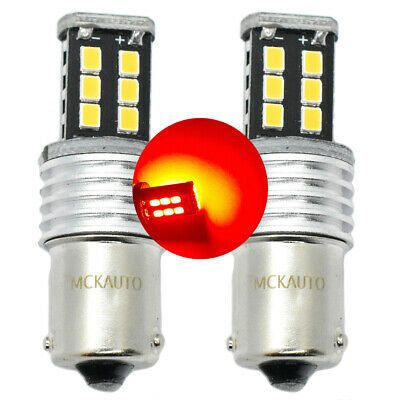 15SMD P21W Red STOP Brakes LED Canbus Bulbs Light Rear BA15s 1156 Opposite Pins