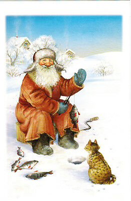 Russian Postcard with winter scene CATCH A FISH! BIG AND SMALL!