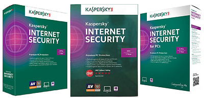Kaspersky INTERNET SECURITY, 3 PC 1 Year  - License Key ONLY