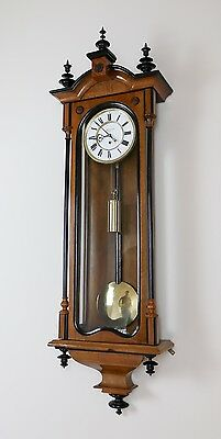 Antique 1weight Walnut Vienna Regulator Wall Clock by Gebr Resch in Wien