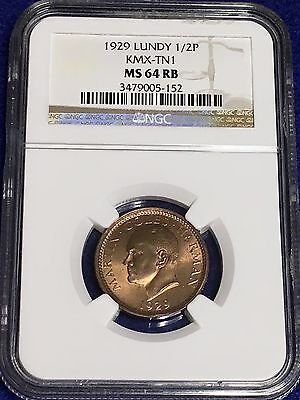 1929 Lundy Half Puffin - NGC MS 64 RB (KMX-TN1) **Scarce One Year Type Coin!!!**