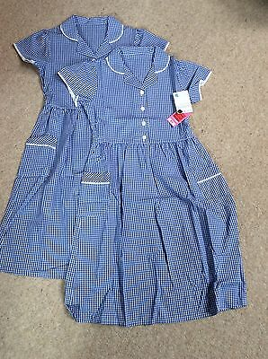 Girls School Dress Blue From M&S Age 10 100% Pure Cotton - 2 dresses For £11