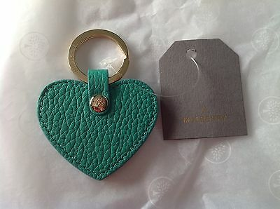 Genuine Mulberry Aqua Leather Heart Keyring Brand New With Box