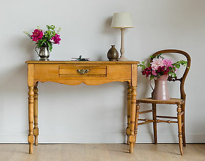 Antique Victorian Light Oak Writing Desk Console Table with Drawer / Leather Top