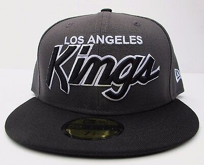 promo code 23005 48b1a LA Kings Dark Grey On Black with White Outline Fitted Cap Hat All Sizes New  Era