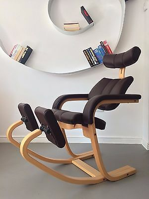 Vintage Leather Brown Zero Gravity Chair Armchair Chaise longue by Stokke