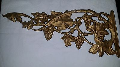 "Architectural Cast Aluminum 16 1/2"" Hanging Plant Bracket Grapes Grape Vine"