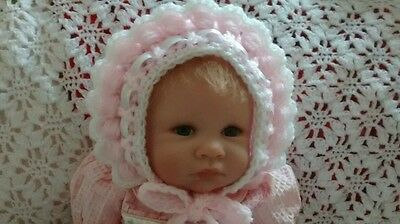 Beautiful Romany baby girls 0- 3 months bonnet pink with white trim  NEW