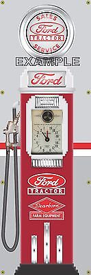 Ford Tractor Dearborn Old Tokheim Gas Pump Banner Display Sign Mural Art 2' X 6'