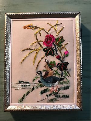 Vintage Hand Embroidered Framed Birds and Flowers