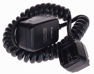 Canon Off Camera Shoe Cord 2 Cable TTL Flash Extension - Nice - Working fine!