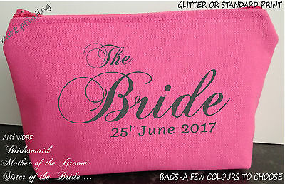 make up cosmetic bag canvas with Name  WEDDING BRIDE  a few COLOURS gift