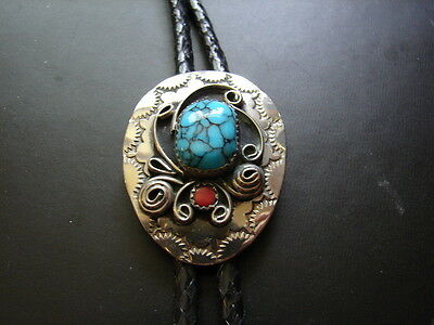 Hand Engraved Nickel Silver Bolo Tie - Genuine Turquoise - Coral Stones