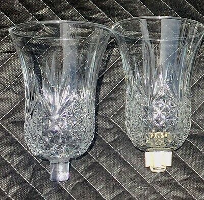 2 Home Interior HOMCO Tiffany Crystal Cut Large Votive Cups Candle Holder Sconce