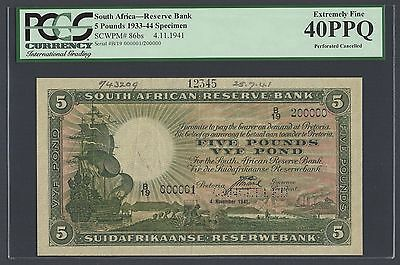 South Africa  5 Pounds 4-11-1941 P86bs Specimen Extremely Fine