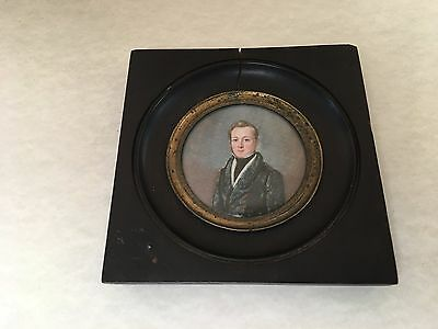 Beautiful 19th Century Miniature Circular Painting Man Portrait EDGUARD FROMMEL