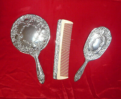 Fab 3pcs SET VINTAGE SILVER PLATED DRESSING TABLE GROOMING VANITY SET