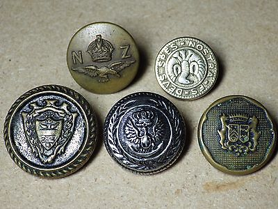 Military and Military Style VIntage Button Lot Metal N Z Air Coats of Arms VG+