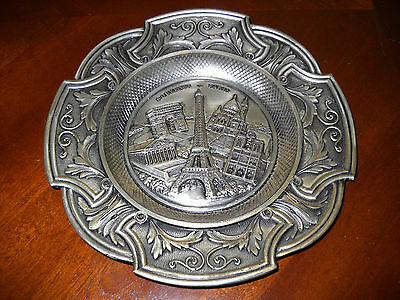 "Vintage Polyne Paris France Souvenir Metal 8.5"" Plate - Images Of Paris"