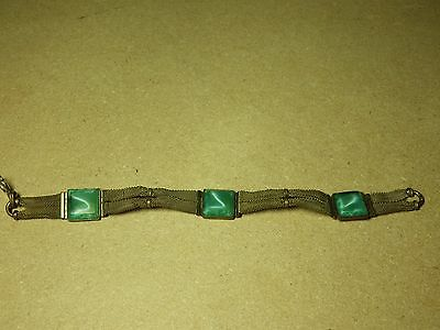 Vintage Brass Mesh/Chainmail Type Bracelet w/Green Synthetic Stones