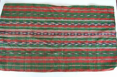 Vintage Hand loomed Ikat Fabric Pillow Cover– Green Blue Cream Teal