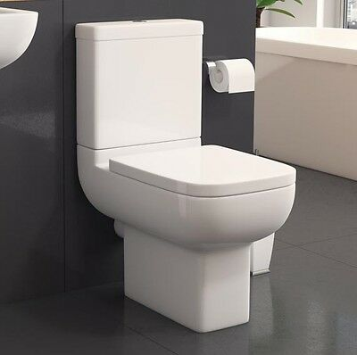 Modern White Ceramic Square Toilet Close Coupled Bathroom WC With Softclose Seat