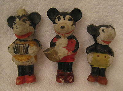 "SCARCE 3 C. 1930's BISQUE ""MICKEY MOUSE"" FIGURES 2 3½"" MUSICIANS  (SAXOPHONE &"