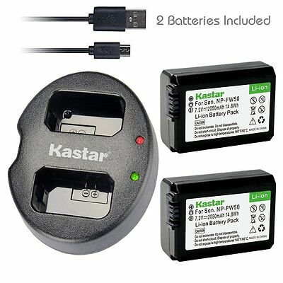 Kastar Battery & USB Dual Charger for Sony NP-FW50 Alpha 7R 7S a5000 a6000 NEX-7