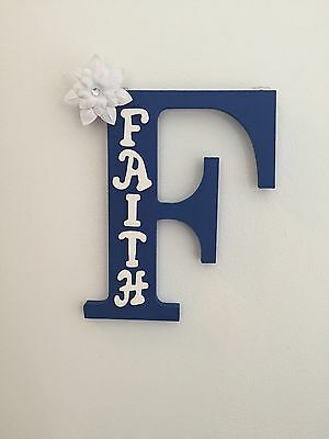 """Handmade - Monogram Wooden Letter """"F"""" - With The Name Faith"""