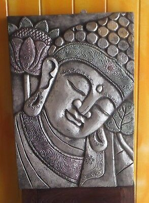 Unique Hand Carved Buddha Face Painted In Green & Gold 60Cm H X 38Cm W