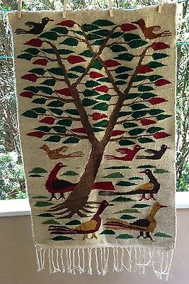 Folk Art wool wall hanging Kilim Pictorial RUG birds Textile Egyptian Southwest?
