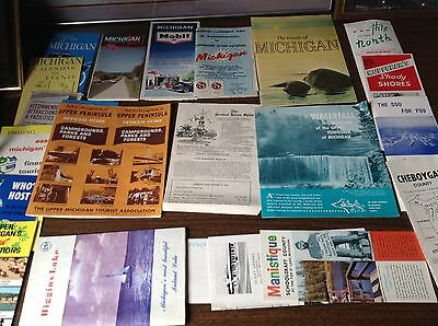 Vintage 1960's Mixed Lot Michigan Gas Station Maps And Other Reading Materials